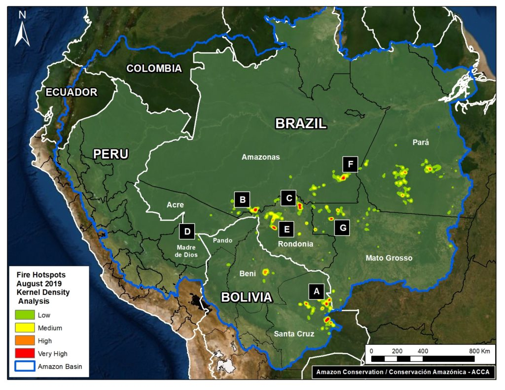 Base Map. Fire Hotspots in the Amazon during August 2019. Data- VIIRS:NASA.