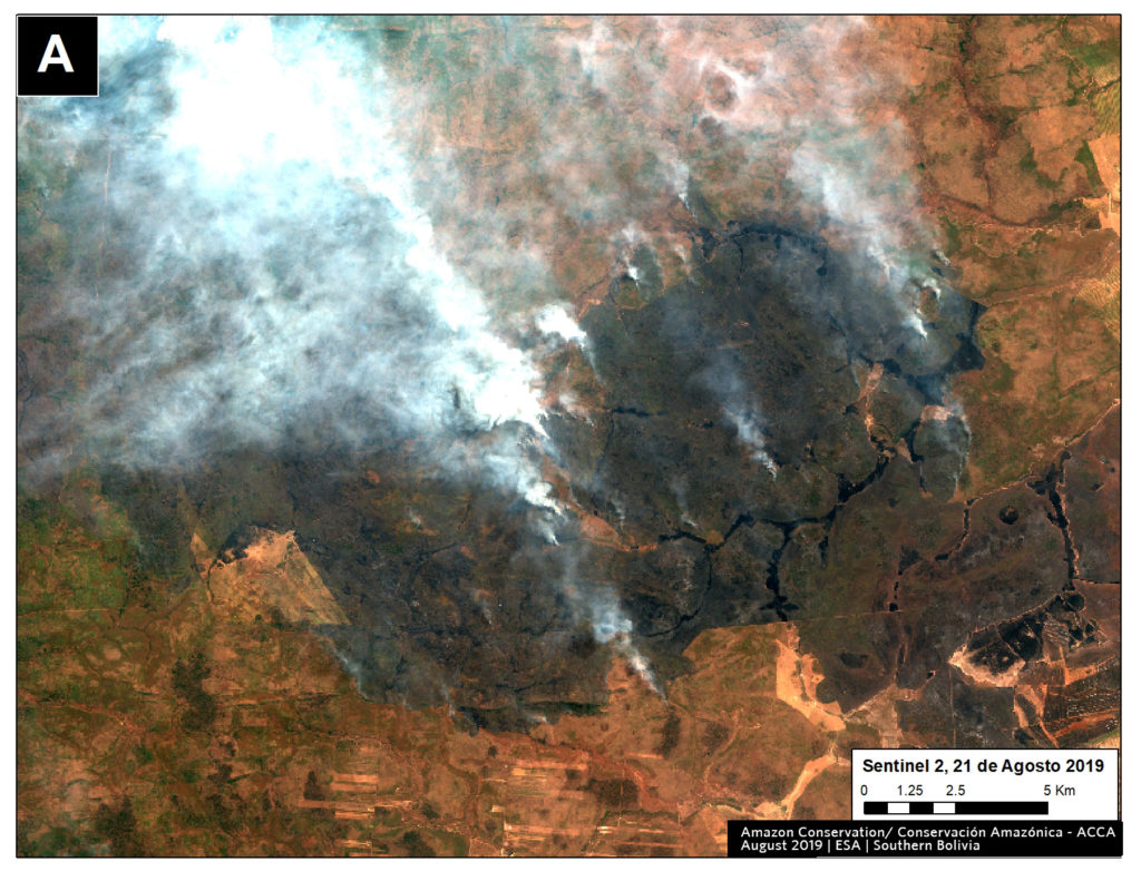 Zoom A1. Fire in southern Bolivian Amazon. Data- ESA