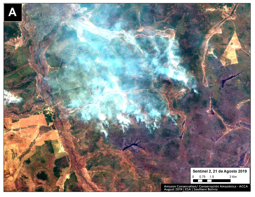 Zoom A2. Fire in southern Bolivian Amazon. Data- ESA