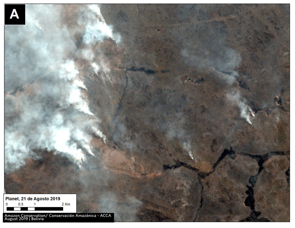 Zoom A3. Fire in southern Bolivian Amazon. Data- Planet