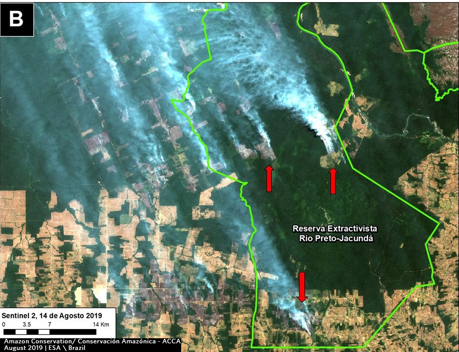 Zoom B. Fire in a protected area in Amazonas state. Data- ESA