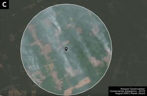 Zoom C. Fires at agriculture-forest boundary in Rondonia state. Data- Sentinel