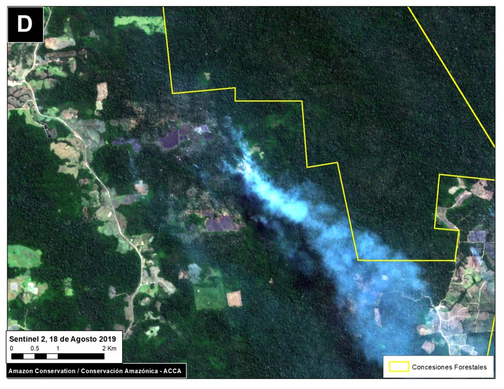 Zoom D. Fire in southern Peruvian Amazon (near Iberia, Madre de Dios). Data- ESA
