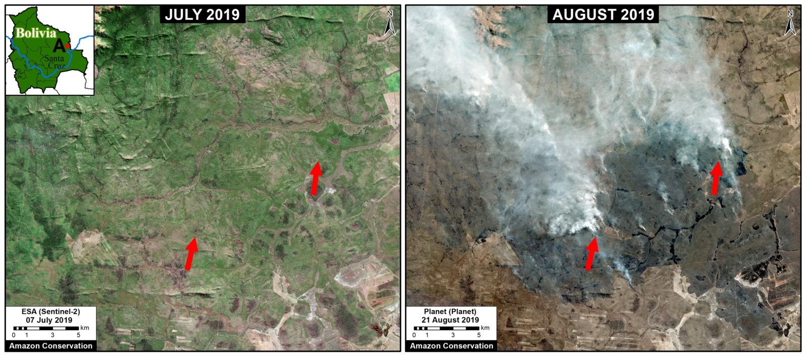 Zoom A. Recent fires in the dry Chiquitano of southern Bolivia. Data- Planet