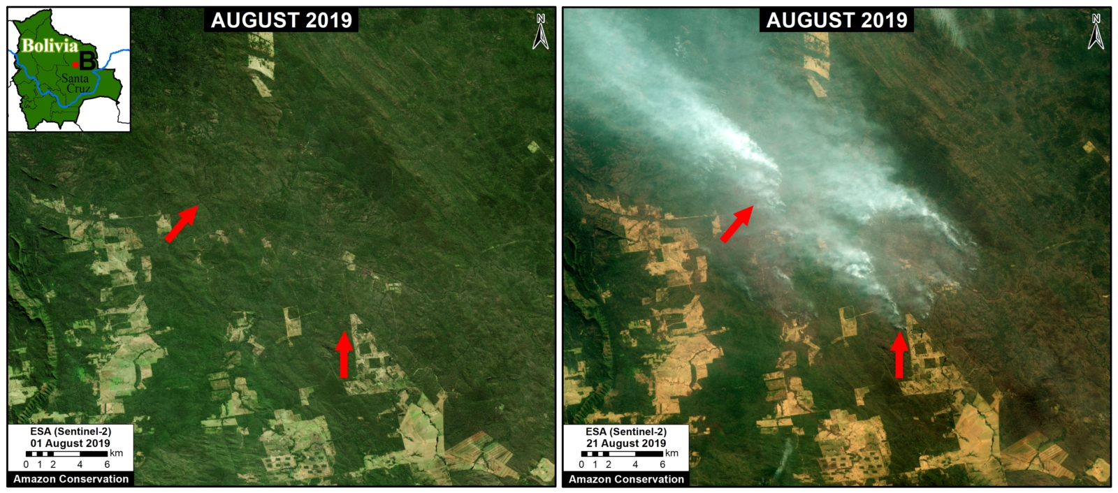 Zoom B. Recent fires in the dry Chiquitano of southern Bolivia. Data- Planet.