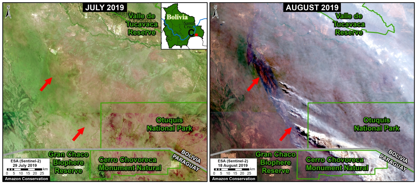 Zoom C. Recent fires in the dry Chiquitano of southern Bolivia. Data- Planet