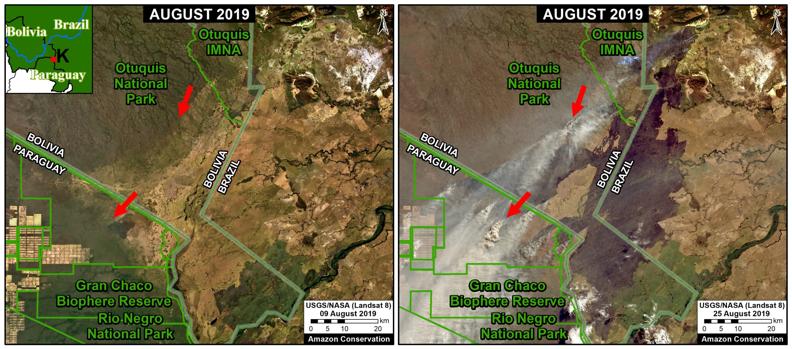 Zoom K. Large fires burning around the Gran Chaco Biosphere Reserve. Data- NASA:USGS.