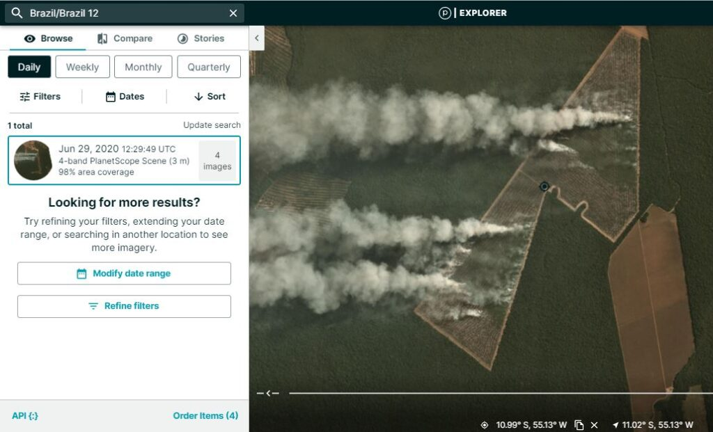 Step 4. Confirm fire with satellite imagery. For example, here is a high resolution image from Planet Explorer showing the fire burning on June 29.