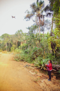 Marcelina, drone pilot wide shot