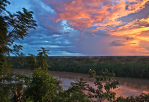 The Madre de Dios River at sunset.