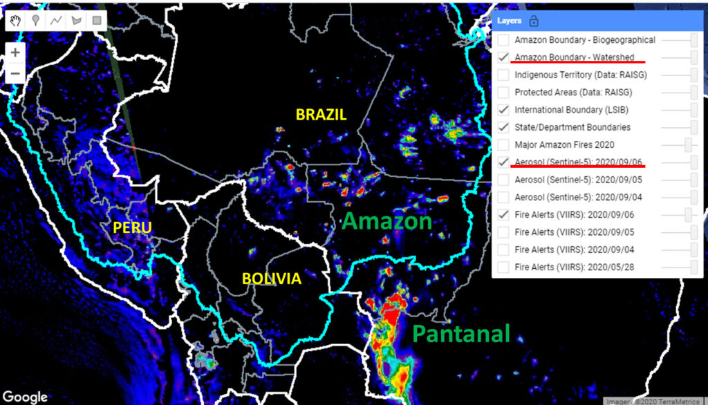 Base Map. Amazon fires in relation to Pantanal fires as seen in our Real-time Amazon Fire Monitoring app (September 6). Red indicates most severa fires. Data: MAAP/ACCA.
