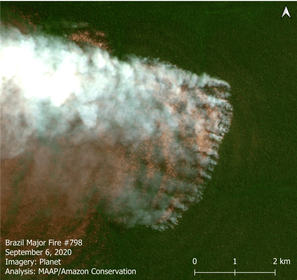 A major forest fire in the Brazilian Amazon (Mato Grosso) on September 6, 2020. Data: Planet. Analysis: MAAP/ACCA, SERVIR.
