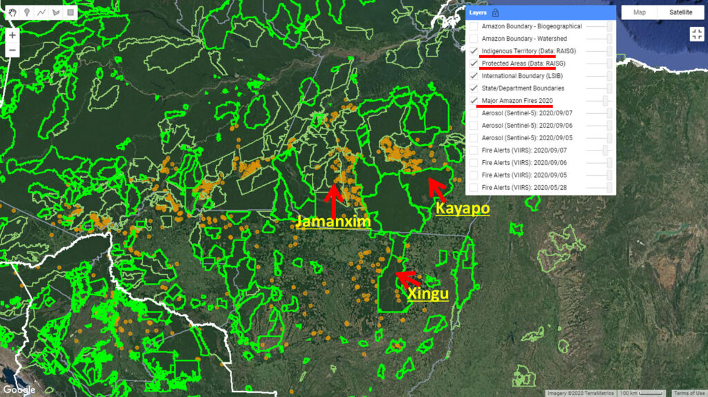 Major Fires (orange dots) within and around indigenous territories (bright green) and protected areas (light green) in the eastern Brazilian Amazon. Data: MAAP.
