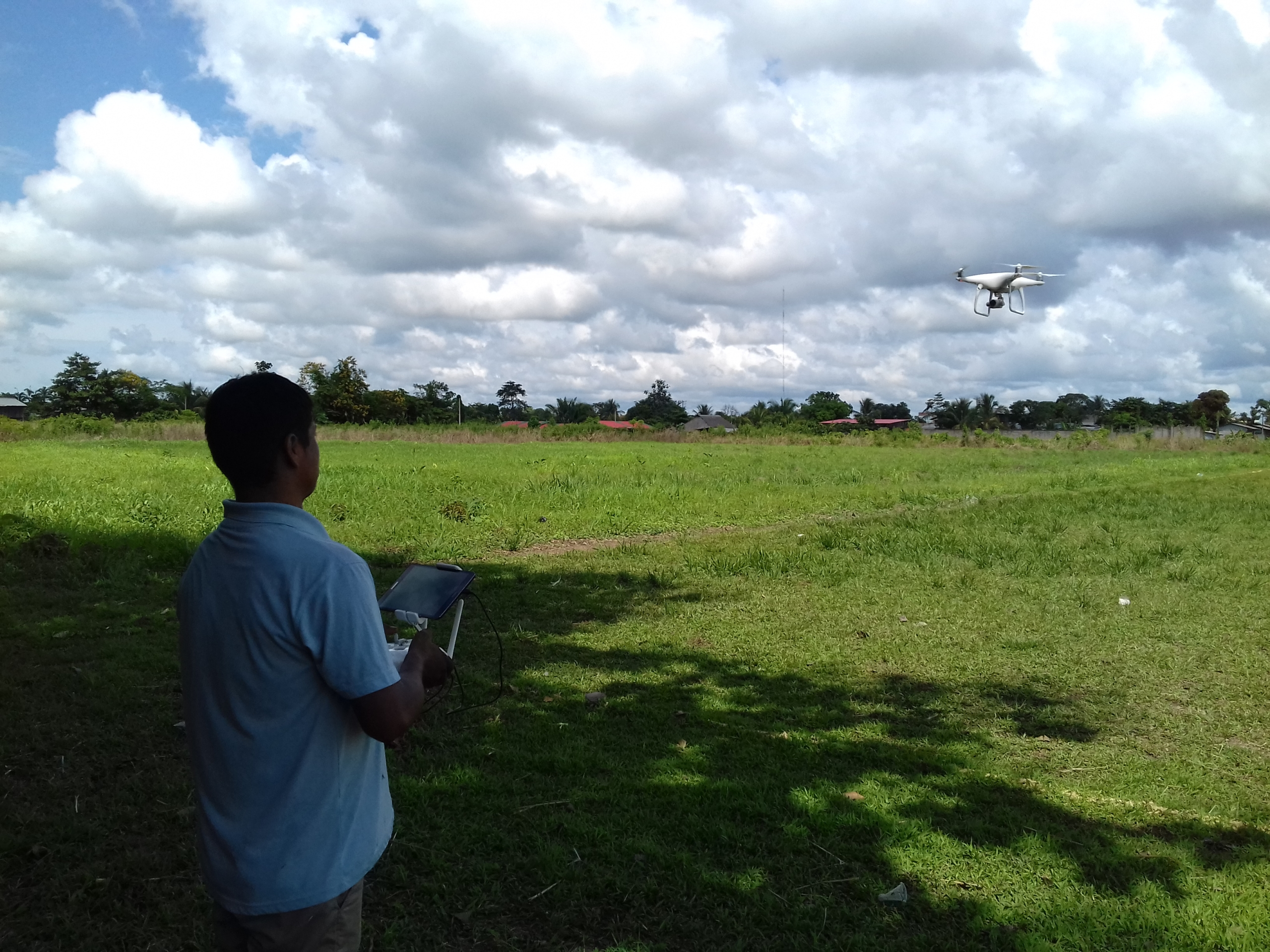 ACOMAT member flying a drone for monitoring their forestry concession. Source: ACCA.