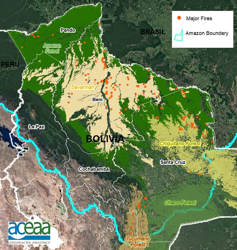 Base Map. Major fires in the Bolivian Amazon during 2020. Data: MAAP/ACEAA.