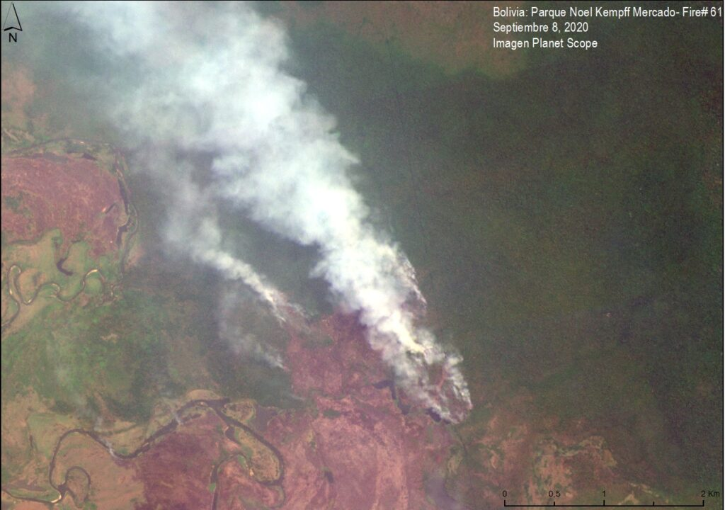 Image 2. Major fire in Noel Kempff Mercado National Park, in the Bolivian Amazon. Data: Planet.