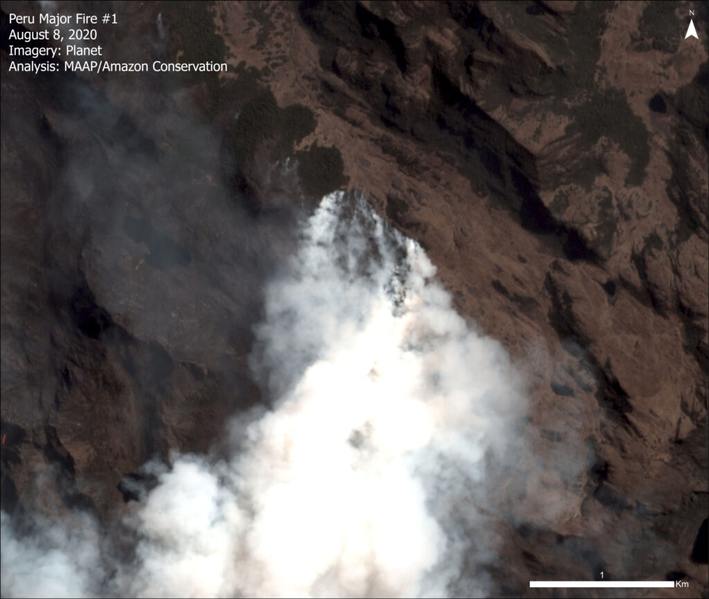 Image 3. Major fire in higher elevation grassland of the Peruvian Amazon. Data: Planet.