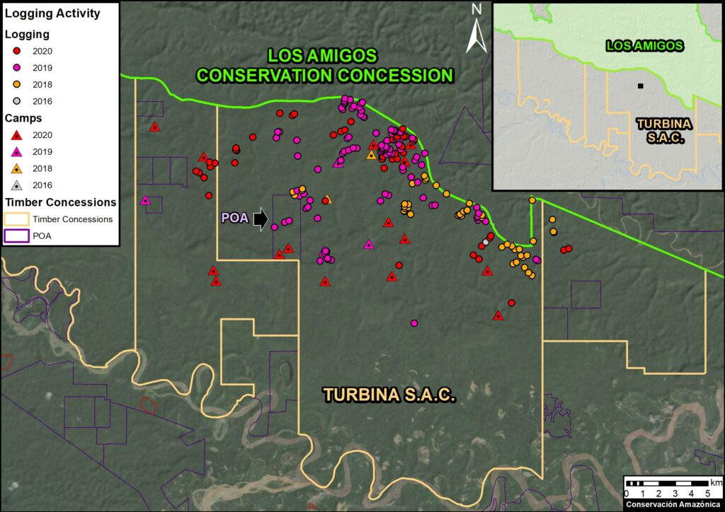 Base Map. Illegal logging activities in the Turbina SAC forestry concession. The size of the points is for reference only. Data: MAAP/Amazon Conservation.
