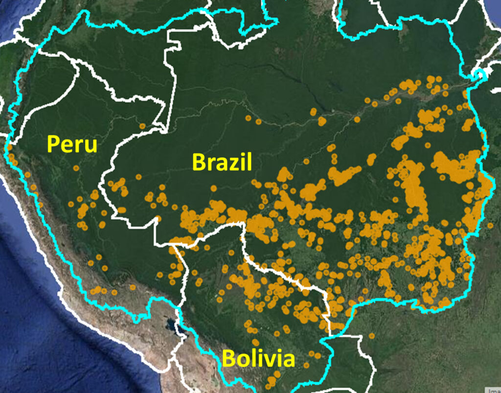 Base Map. Major Amazon fires 2020 (orange dots) within Amazon watershed (blue line). Data: MAAP.