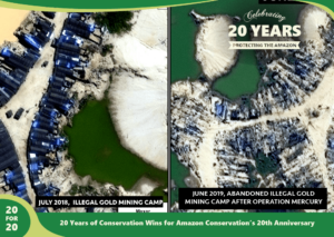 Operation Mercury Before and After Illegal Gold Mining Intervention as part of 20 for 20 Years of Conservation Wins by Amazon Conservation