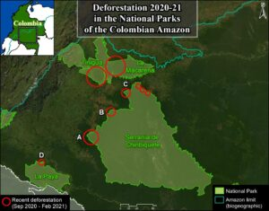 Base Map. Deforestation 2020-21 in the National Parks of the Colombian Amazon. Data: MAAP.