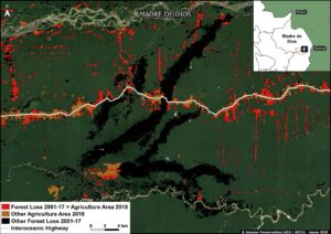 Zoom E. Mining and agriculture deforestation in southern Peru (Madre de Dios region). Data: MAAP, MIDAGRI, MINAM/Geobosques.