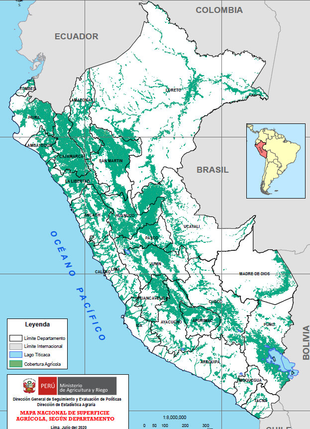 Peru's first National Agricultural Area Map. Source: MIDAGRI.