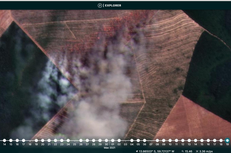 2021 Brazilian Amazon Fire #1. Mato Grosso. Data: MAAP, Planet.