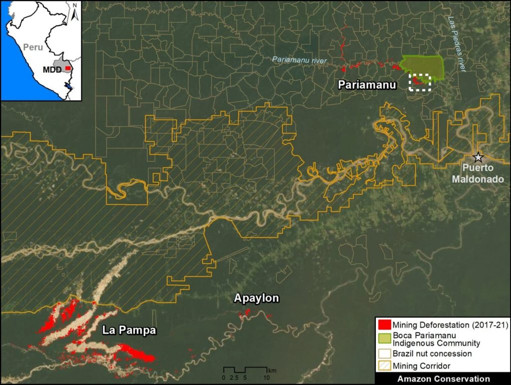 Base Map. Illegal gold mining deforestation along the Pariamanu river, in the context of La Pampa. Data: MAAP.